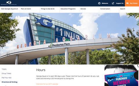 Screenshot of Hours Page georgiaaquarium.org - Hours | Visit | Georgia Aquarium - captured Dec. 4, 2017