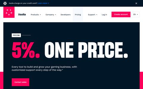 Screenshot of Pricing Page xsolla.com - Grow your video game developer business at no upfront cost | Xsolla - captured Sept. 20, 2018
