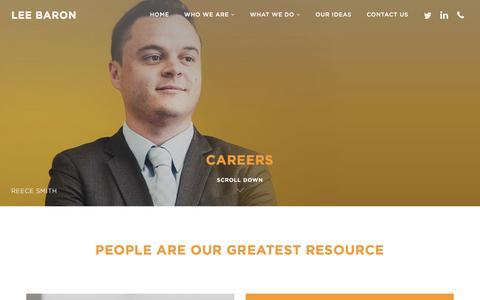Screenshot of Jobs Page leebaron.com - Lee Baron | Careers - captured Nov. 5, 2016