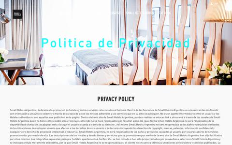 Screenshot of Privacy Page smallhotelsargentina.com - Small Hotels Argentina - captured June 21, 2017