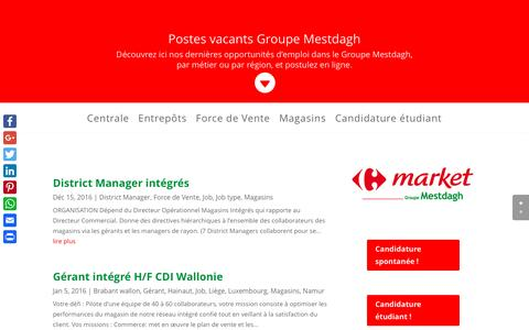 Screenshot of Jobs Page carrefourmarket-groupemestdagh.be - Emplois Groupe Mestdagh - Carrefour Market Groupe Mestdagh news - captured May 6, 2017