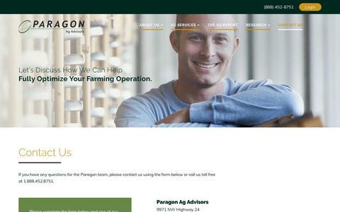 Screenshot of Contact Page myagadvisor.com - Contact Us - Paragon Ag Advisory - captured July 14, 2017