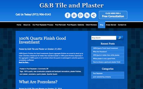 Screenshot of Blog poolsub.com - Dallas pool plaster, blog, tips, information, G&B Tile and Plaster - captured Nov. 1, 2014