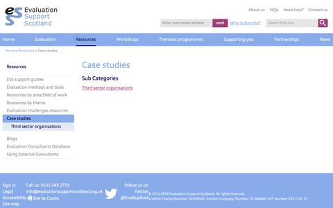 Screenshot of Case Studies Page evaluationsupportscotland.org.uk - Case studies - Evaluation Support Scotland - captured July 22, 2018