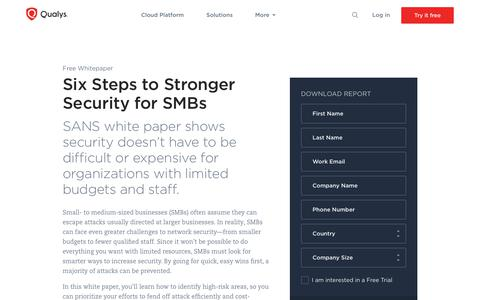 Six Steps to Stronger Security for SMBs Whitepaper | Qualys, Inc.