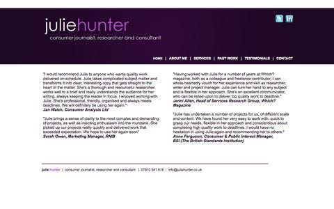Screenshot of Testimonials Page juliehunter.co.uk - Julie Hunter - Consumer Journalist - Researcher - Consultant - captured Sept. 30, 2014