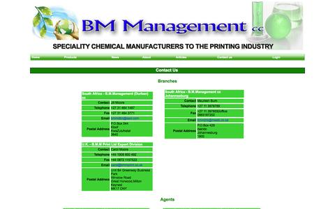Screenshot of Contact Page bmmprint.com - BM Management - Specialist Chemicals for the Printing Trade - captured Oct. 5, 2014