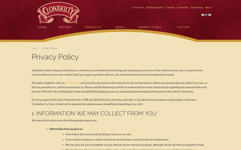 Screenshot of Privacy Page clonakiltyblackpudding.ie - Privacy Policy - Clonakilty Food Co. - captured Sept. 28, 2018