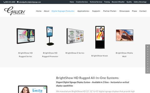 Screenshot of Products Page gallerydigitalsignage.com - Manufacturer of Digital Signage Products - Gallery Digital Signage - captured May 14, 2017