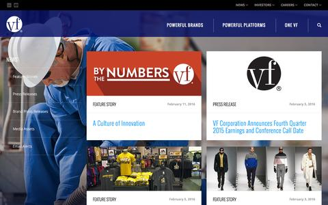 Screenshot of Press Page vfc.com - News :: VF Corporation (VFC) - captured Feb. 16, 2016