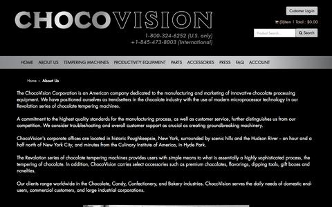 Screenshot of About Page chocovision.com - About Us - captured July 17, 2018