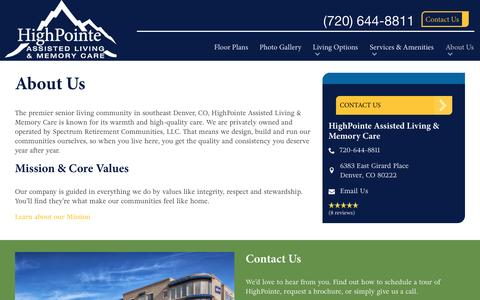 Screenshot of About Page spectrumretirement.com - About HighPointe Assisted Living & Memory Care - captured Jan. 23, 2017