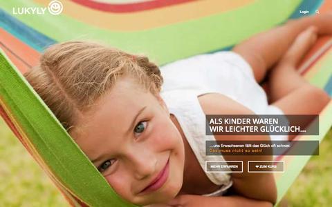 Screenshot of Home Page lukyly.com - Glücklichsein kann man lernen - Online Kurs › Lukyly - captured Aug. 29, 2015