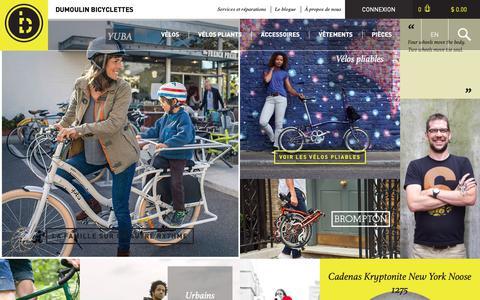 Screenshot of Home Page dumoulinbicyclettes.com - Vélos électriques, de ville, pliants, cargo  | Dumoulin Bicyclettes - Le plus grand choix de vélos urbains et pliants à Montréal - captured Dec. 9, 2018
