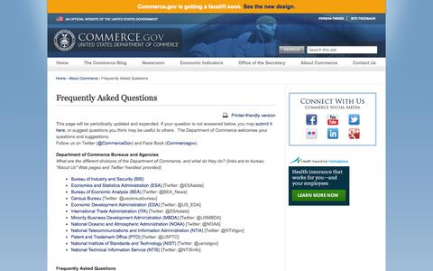 Screenshot of FAQ Page commerce.gov - Frequently Asked Questions | Department of Commerce - captured Sept. 18, 2014