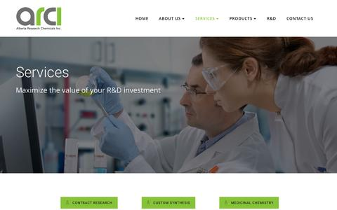 Screenshot of Services Page arciglobal.com - Services Â« Alberta Research Chemicals Inc. - captured Nov. 20, 2016