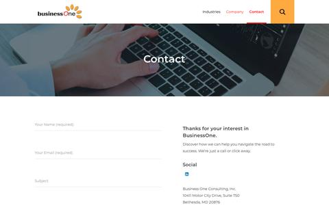 Screenshot of Contact Page businessoneconsulting.com - Contact Us   BusinessOne Consulting - captured Oct. 7, 2018