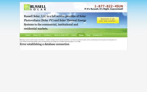 Screenshot of Press Page russellsolarpv.com - Press Releases, Articles and Video About Russell Solar PV In The News   Solar Panel Installer - captured Oct. 9, 2014