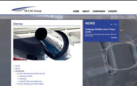 Screenshot of Site Map Page mcm.aero - Sitemap - captured Oct. 3, 2014