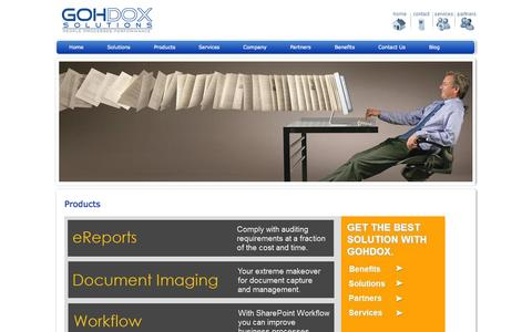Screenshot of Products Page gohdox.com - Products | GohDox Solutions - captured Oct. 8, 2014
