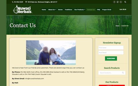 Screenshot of Contact Page nuwatiherbals.com - Contact Us | Nuwati Herbals - captured Oct. 19, 2018