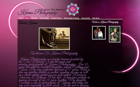 Screenshot of About Page karmaphotography13.com - Event Photographer - Karma Photography - captured Oct. 15, 2018