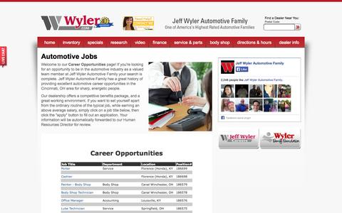 Screenshot of Jobs Page wyler.com - Automotive Dealership Careers & Jobs at Jeff Wyler Automotive Family - captured Oct. 6, 2014