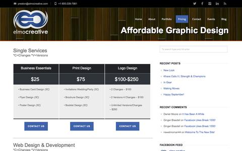 Screenshot of Pricing Page elmocreative.com - elmo creative | Affordable Graphic Design Pricing - elmo creative | Affordable Graphic Design - captured Dec. 14, 2015