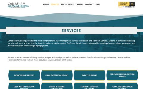 Screenshot of Services Page canadiandewatering.com - Services | Canadian Dewatering - captured Nov. 9, 2018