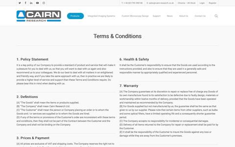 Screenshot of Terms Page cairn-research.co.uk - Terms & Conditions | Cairn Research Ltd - captured Sept. 26, 2018