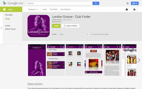 Screenshot of Android App Page google.com - London Groove - Club Finder - Android Apps on Google Play - captured Oct. 22, 2014