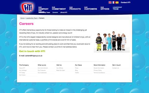 Screenshot of Jobs Page htigroup.co.uk - Careers | Leadership Team | Children's Toys Manufacturer | Toy Design | Toy Distributors - HTI - captured Sept. 26, 2014
