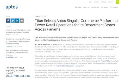 Screenshot of Press Page aptos.com - Titan Selects Aptos Singular Commerce Platform - Aptos - captured Feb. 20, 2020