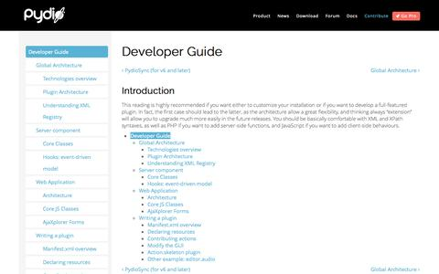 Screenshot of Developers Page pyd.io - Developer Guide | Pydio, formerly AjaXplorer - captured Oct. 30, 2014