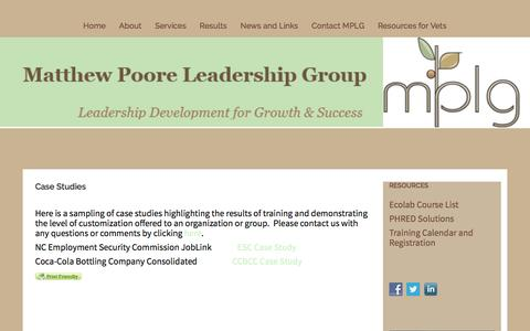 Screenshot of Case Studies Page matthewpoore.com - Case Studies – - captured Dec. 17, 2016