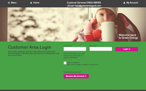 Screenshot of Login Page greenenergyuk.com - Login | Green Energy UK - captured Nov. 23, 2018