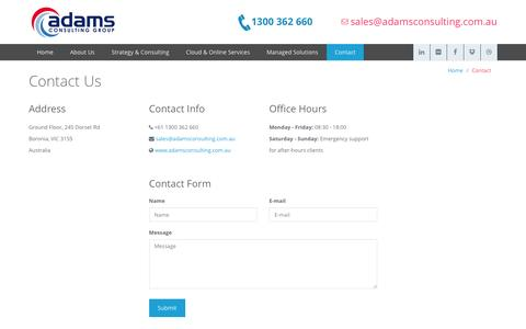 Screenshot of Contact Page adamsconsulting.com.au - Contact Us - captured Feb. 5, 2016