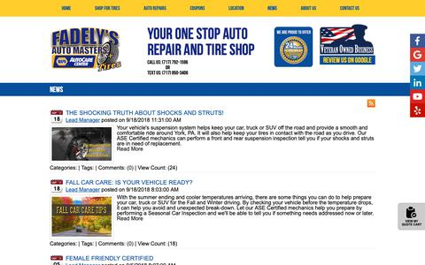 Screenshot of Press Page automasters.com - Fadely's Auto Masters News York, PA Dover, PA Spring Grove, PA Tires Shop - captured Oct. 10, 2018
