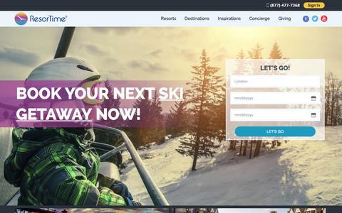 Screenshot of Home Page resortime.com - Amazing Timeshare Destinations - Vacation Rentals | ResorTime - captured Dec. 5, 2015