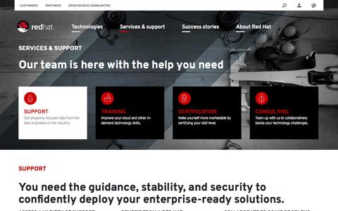 Screenshot of Services Page redhat.com - Services and support | Red Hat - captured Oct. 29, 2014