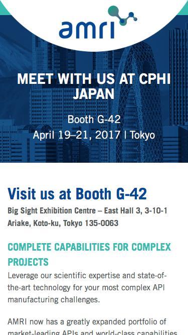 Meet with us at CPhI Japan | AMRI