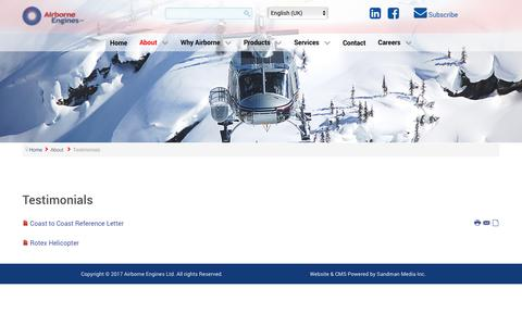 Screenshot of Testimonials Page airborneengines.com - Testimonials - captured Oct. 7, 2017