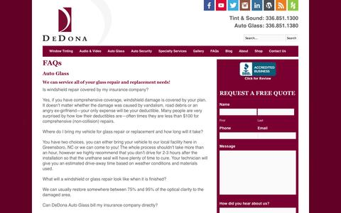 Screenshot of FAQ Page dedona.com - FAQs - captured Oct. 5, 2014
