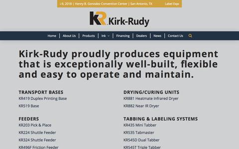 Screenshot of Products Page kirkrudy.com - Kirk-Rudy Products List - captured Oct. 17, 2017