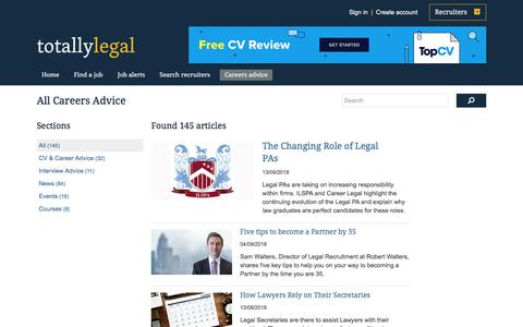 Screenshot of Jobs Page totallylegal.com - Articles and careers information on TotallyLegal - captured Sept. 23, 2018
