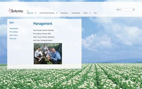 Screenshot of Team Page solynta.com - management - captured Oct. 7, 2014