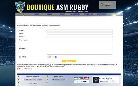 Screenshot of Contact Page asm-boutique.com - La boutique de l'ASM Rugby | Boutique en ligne Otago vetements rugby | Rugbywear - captured April 25, 2016