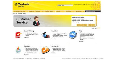 Screenshot of Support Page maybank-ke.com.sg - Maybank Kim Eng - Customer Service - captured Sept. 25, 2014