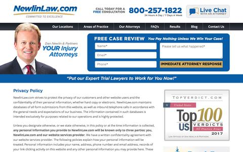 Privacy Policy - Attorney Dan Newlin - Recovered Millions!
