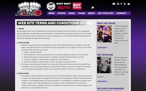 Screenshot of Terms Page rosecityrollers.com - Web Site Terms and Conditions of Use | Rose City Rollers | Women's Flat Track Roller Derby in Portland, Oregon - captured Sept. 30, 2014